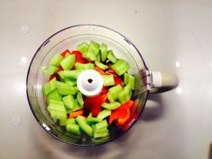 légumes dans le mixeur