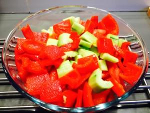légumes coupés grossièrement