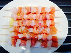 brochettes de poissons et marinade