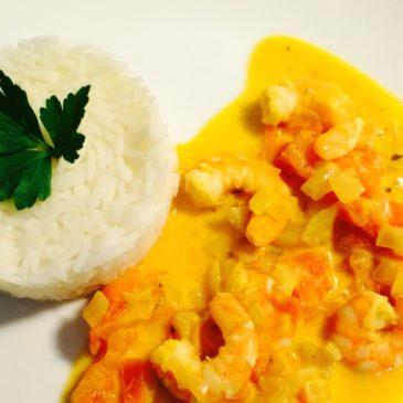 Crevettes curry lait de coco