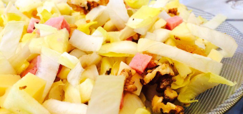 salade endives pommes noix raisins gruyère jambon