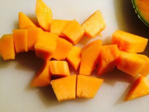 melon coupé en morceaux
