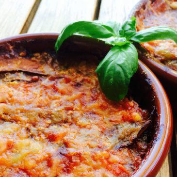Gratin aubergines tomates basilic