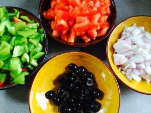 légumes pelés et coupés