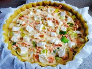 tarte poireaux saumon chèvre avant cuisson
