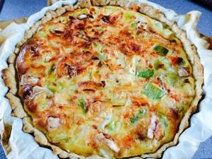 tarte poireaux saumon chèvre après cuisson