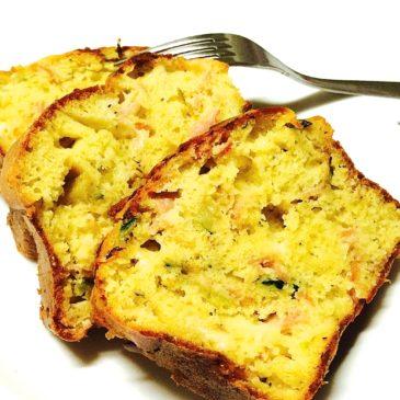 Cake courgette bacon comté origan