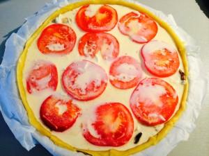 ajout du gruyère, des tomates