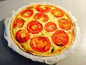 tarte champignons lardons tomates origan après cuisson