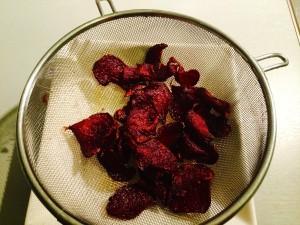 égouttez les patates douces et les betteraves