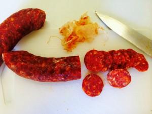 préparation du chorizo