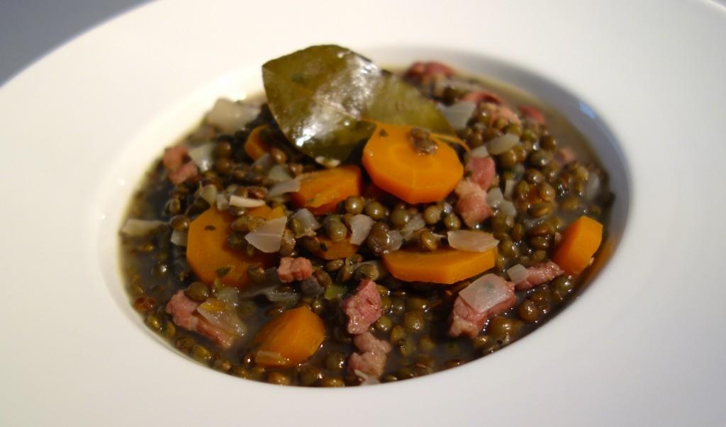 recette lentilles lardons oignons