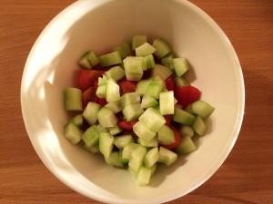 ajoutez les dés de concombre