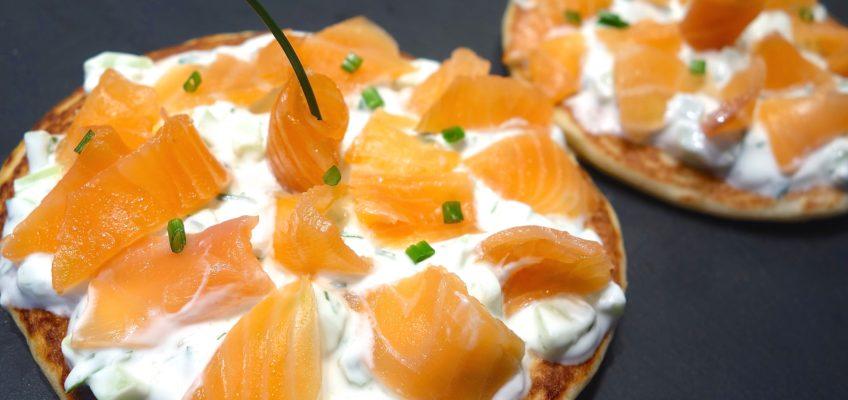 Blinis tzatziki saumon