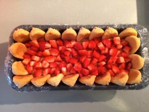 ajout des morceaux de fraises