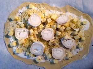 préparation pizza base crème