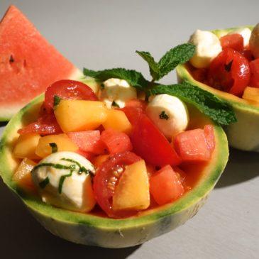 Salade melon pastèque mozzarella