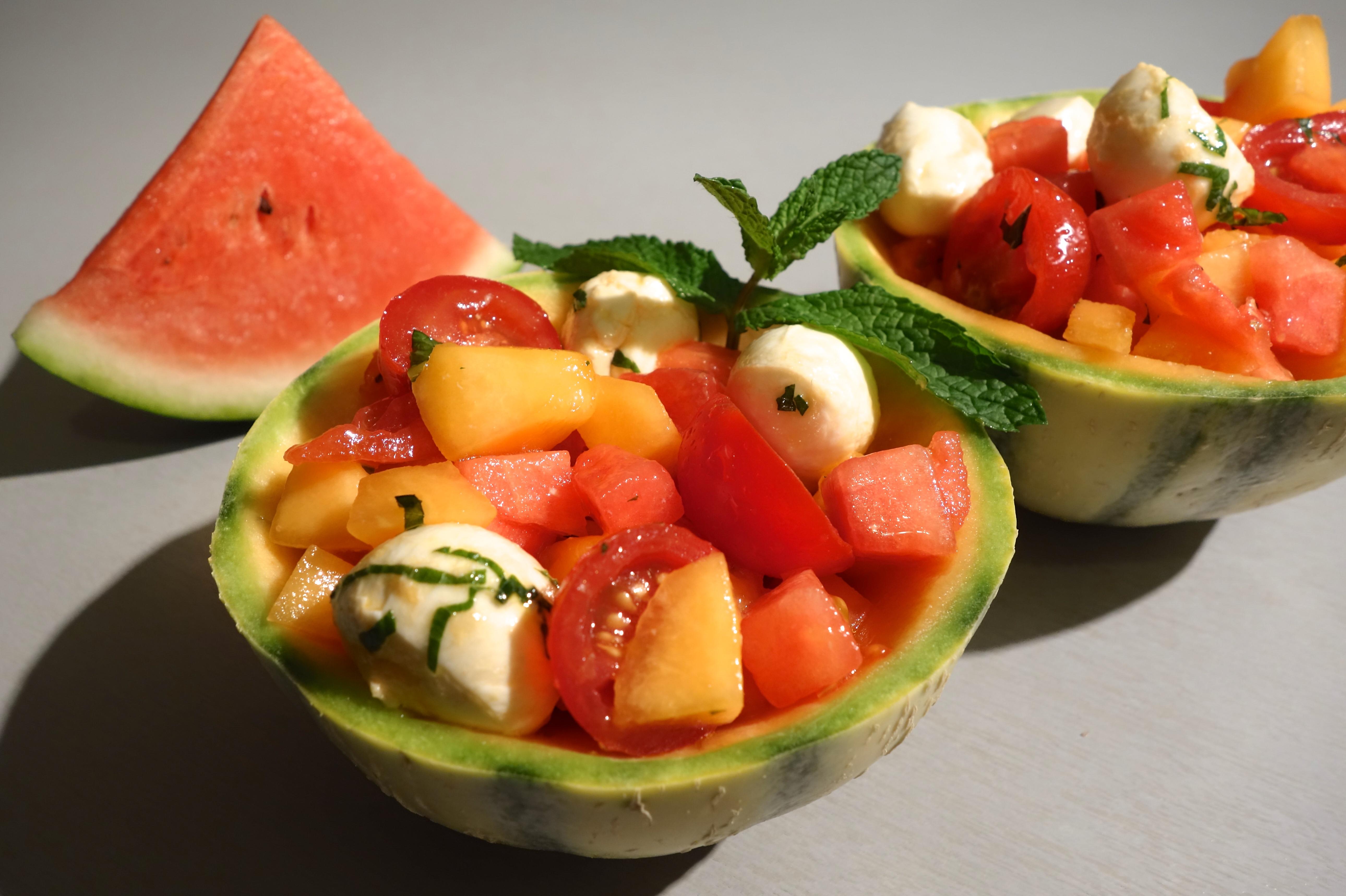 salade melon past que mozzarella sorosebonbons. Black Bedroom Furniture Sets. Home Design Ideas