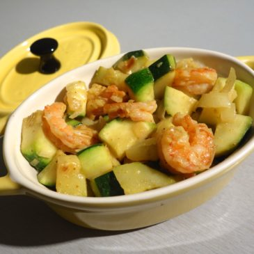 Crevettes courgettes curry