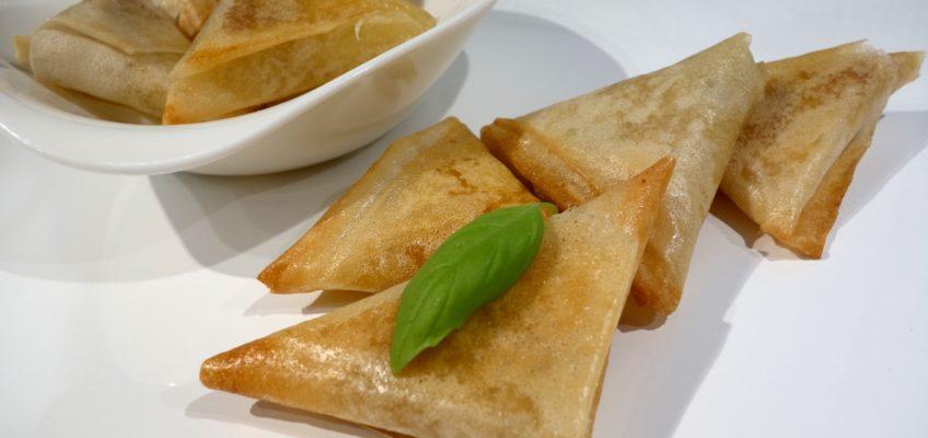 Samoussas mozzarella basilic jambon