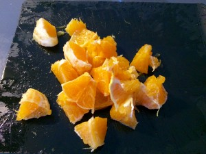 ajout de morceaux d'orange