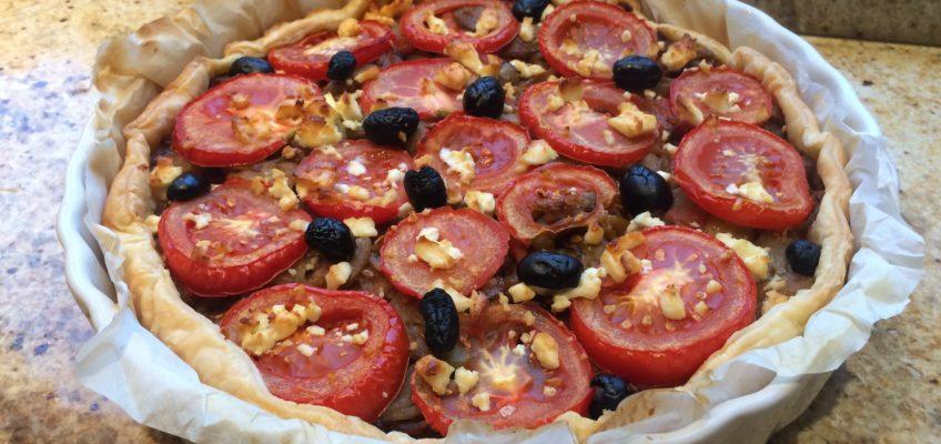 Tarte aubergines tomates feta